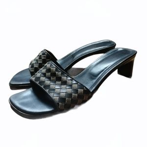 TOMMY BAHAMA Black Quilt Heeled Leather Mule Italy